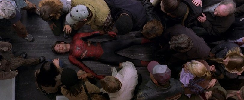 "Spider-Man revealed as a kid in ""Spider-Man 2"" (2004)"