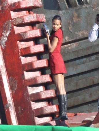 Zoe Saldana filming STAR TREK sequel