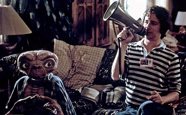 "Steven Spielberg on the set of ""E.T."""