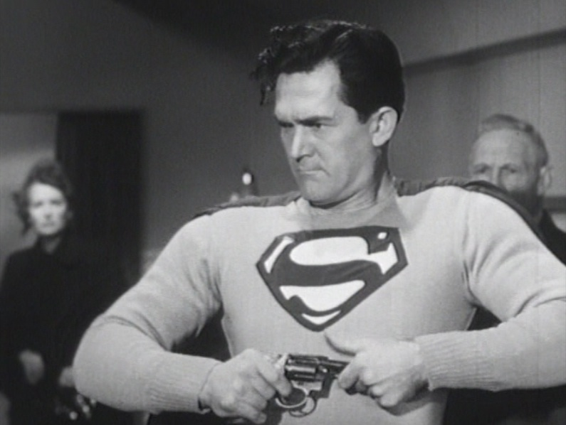 "Superman and gun control. Kirk Alyn in a shot from ""Atom Man vs. Superman"" (1950)"