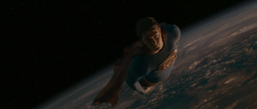 "Superman (Brandon Routh), with Earth in the background, in ""Superman Returns"" (2006)"