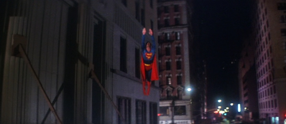 "Superman (Christopher Reeve) takes off for the first time in Metropolis in ""Superman: The Movie"" (1978)"