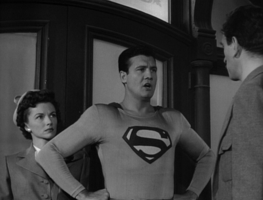 "Superman confronts Luke Benson and a mob on the hospital steps in ""Superman and the Mole Men"" (1951)"