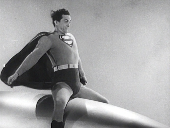 "Superman (Kirky Alyn) riding a rocket or missile in ""Atom Man vs. Superman"" (1950)"