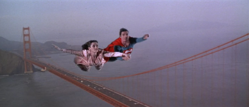 Superman and Lois flying around the country in Superman IV