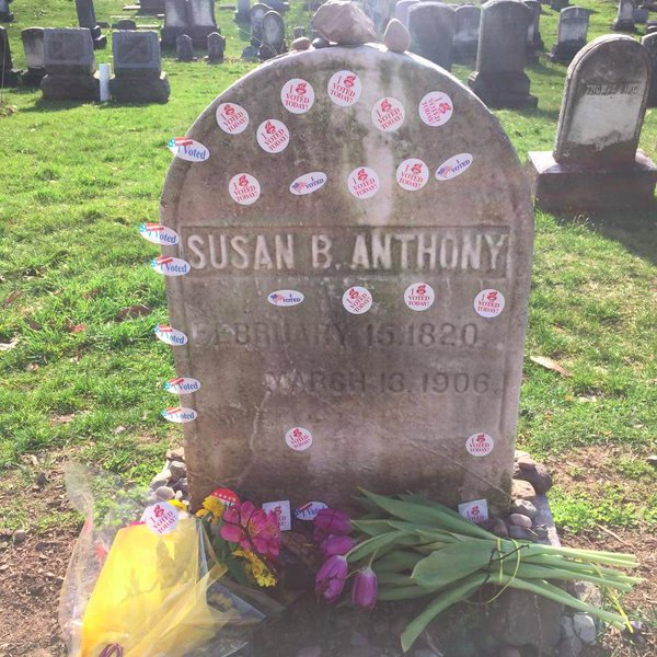 Susan B. Anthony tombstone in Rochester, NY