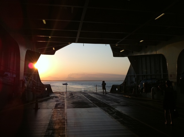 From the hold of the Tacoma Ferry as it pulls into Seattle; looks vaguely Star Wars-ish.