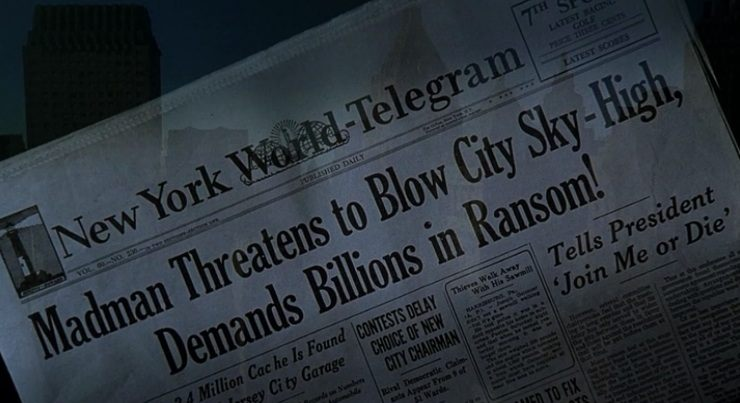 "New World-Telegram headline from ""The Shadow"""