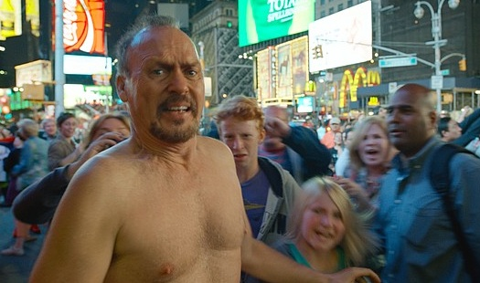 "Michael Keaton, living the underwear nightmare, in ""Birdman"""