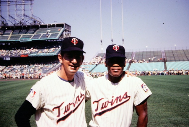Billy Martin and Cesar Tovar, Met Stadium, 1969