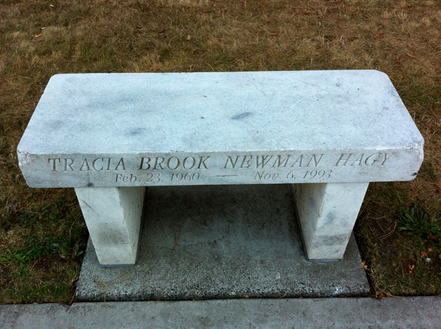 The Tracia Brook Newman Hagy bench by the University Bridge in Seattle