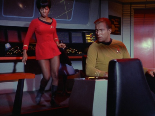 "Lt. Uhura distracts Capt. Kirk in the episode ""Balance of Terror"" during the first season of the original series"