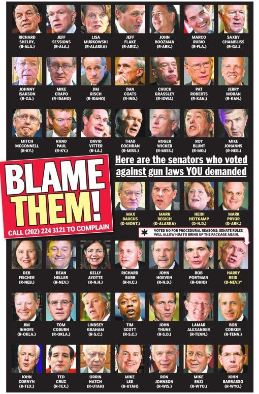 The minority of U.S. Senators who voted against mild gun-control reforms: April 2013