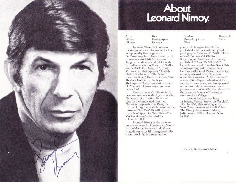 Vincent, starring Leonard Nimoy, program, Guthrie Theater, 1979, autographed
