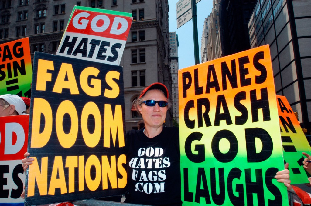 Westboro Baptist Church: God hates fags, etc.