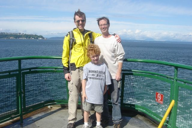 Me, Chris and Jordy on a Washington State Ferry heading toward Bainbridge Island, August 2008