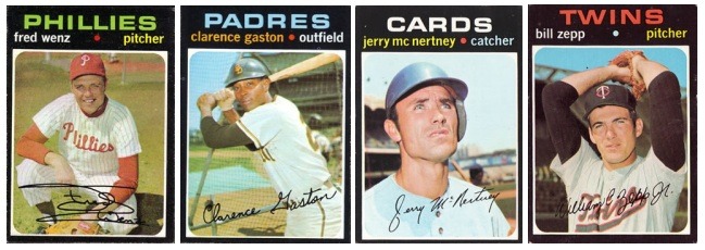 1971 Topps cards: Fred Wenz, Clarence Gaston, Jerry McNertney and Bill Zepp