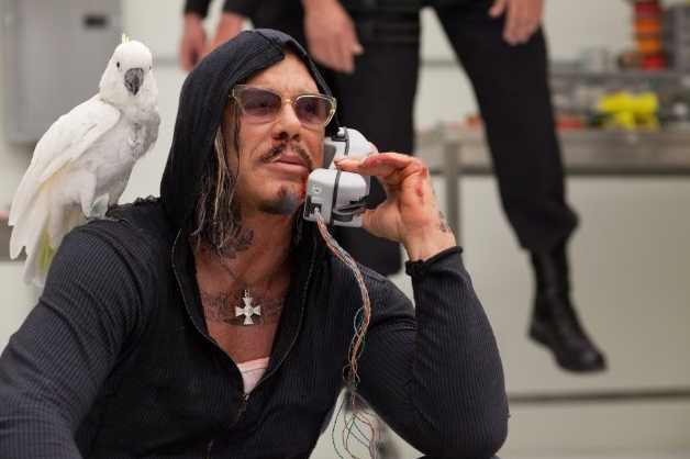 "Mickey Rourke, with bird, in ""Iron Man 2"""