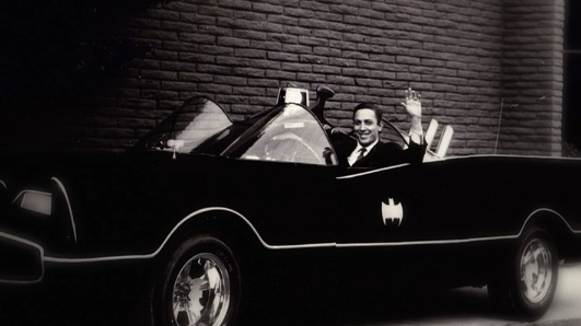 Bob Kane, creator of Batman, in the 1960s Batmobile