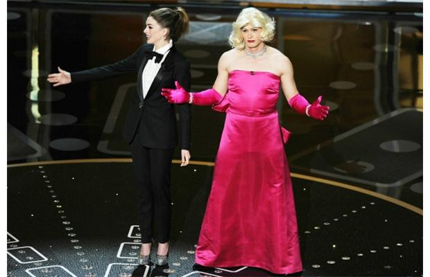 Anne Hathaway and James Franco (in drag) host the 2011 Oscars