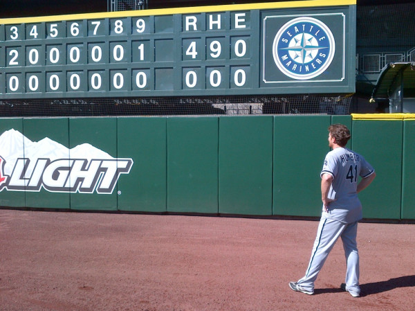 Humber Humber admires his perfect game against the low-hitting Seattle Mariners: April 21, 2012