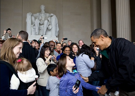 Pres. Obama greeting tourists at the Lincoln Memorial in 2011.