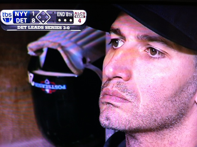 Andy Pettite watches as the Yankees lose to the Tigers, 8-1 and four games to none.