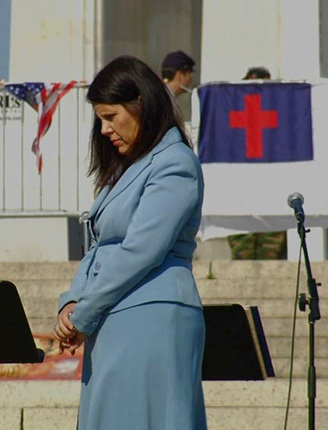 "Cynthia Dunbar at a D.C. rally in ""The Revisionaries"" (2012)"