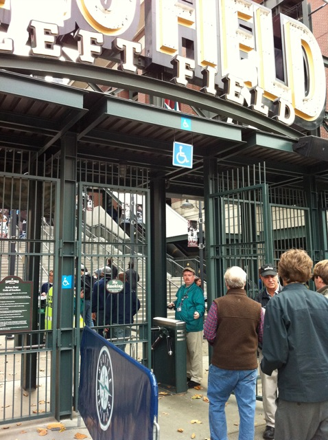 Mr. B at the left field gate at Safeco Field