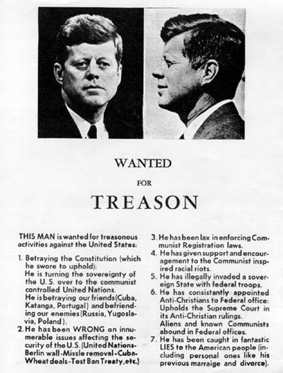 Wanted for treason poster: JFK