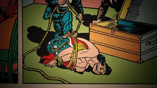 "The early bondage fixation of William Marston, Wonder Woman's creator, in ""Secret Origins: The Story of DC Comics"""